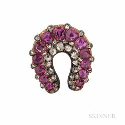 Antique Gold, Ruby, and Diamond Horseshoe Brooch