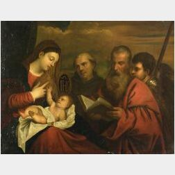 After Tiziano Vecelli, called Titian (Italian, 1477-1576)  Madonna and Child with Saints Stephen, Jerome, and Maurice