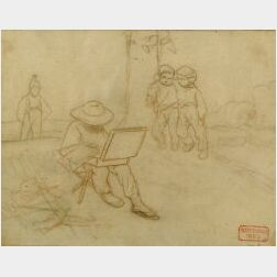 Charles Bargue (French, 1825-1883)  Lot of Two Sketches Including:  Artist Sketching