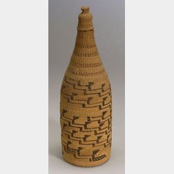 Northern California Twined Basketry Bottle