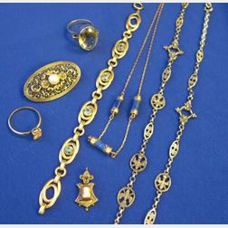 Group of Rings, Bracelet, Silver Gilt and Pearl Pin, Lapis and Gold Chain, and a Cameo Pendant.