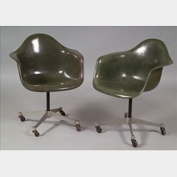 Two Charles and Ray Eames Molded Fiberglass Armchairs