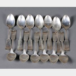 "Thirteen Whiting Manufacturing Co. ""Plain Tipt"" Coin Silver Teaspoons"
