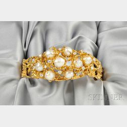14kt Gold, Cultured Pearl, and Diamond Bracelet, Arthur King