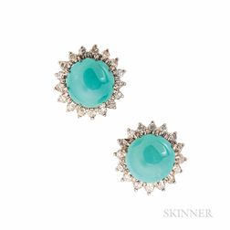 Platinum and Turquoise Earrings