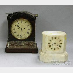 Mahogany Table Clock and a White Marble Clock Case