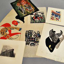 Seven Contemporary Woodblock Prints