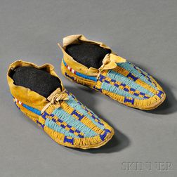 Arapaho Beaded Hide Child's Moccasins