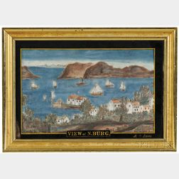 "Schoolgirl Watercolor on Velvet ""VIEW of N.BURG [Newburgh, New York],"""