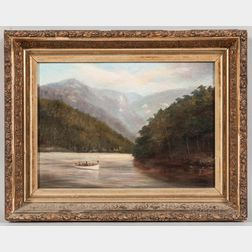 American School, 19th Century       River Scene with Mountains and a Steamboat.
