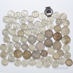 Group of American Dollars and Half Dollars