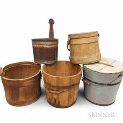 Five Early Pine Stave-constructed Buckets