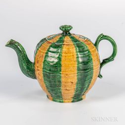 Staffordshire Creamware Melon-decorated Teapot and Cover