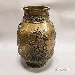 Bronze Vase with Irises