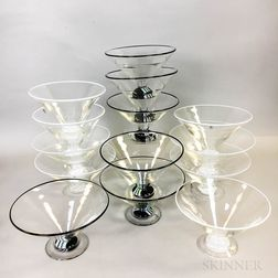 Fourteen Charlie Meaker Footed Conical Ice Cream Bowls