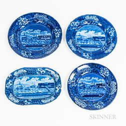 "Three Staffordshire Historical Blue Transfer-decorated ""Landing of Lafayette"" Plates and a Rectangular Serving Dish"
