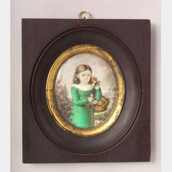 American School 19th Century    Miniature Portrait of a Girl in a Green Dress Carrying a Basket of Flowers.
