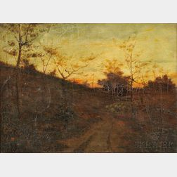 Attributed to Gustave Wiegand (German/American, 1870-1957)      Evening ,  Shepherd and Flock on a Path at Dusk