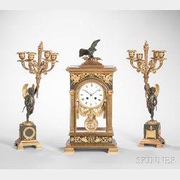 Napoleon III-style Gilt and Patinated Bronze Three-piece Clock Garniture