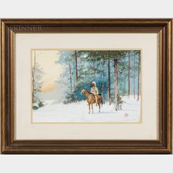 "Apworth ""Ap"" Adams (American, 20th Century)      Warrior on Horseback in Winter"