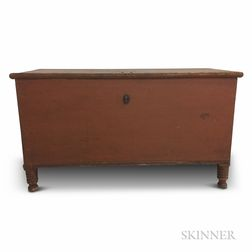 Country Red-painted Pine Dower Chest