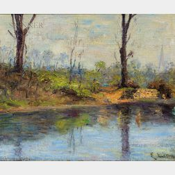Ernest Lawson (American, 1873-1939)      Along the Riverbank