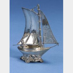French Silver Sailboat Table Ornament
