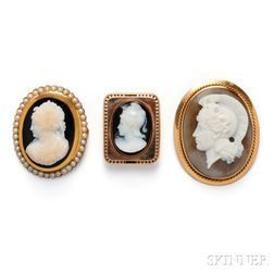 Three Antique Gold and Hardstone Cameo Brooches