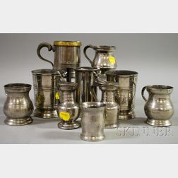 Ten Pieces of Assorted Pewter Hollowware