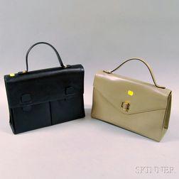 Two Salvatore Ferragamo Leather Handbags