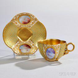 Jeweled Coalport Porcelain Quatrefoil-shaped Cup and Saucer