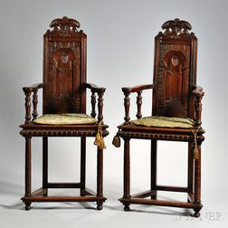 Pair of French Caqueteuse-type Chairs