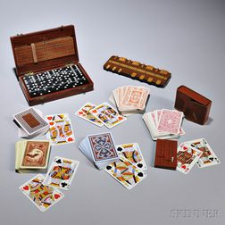Group of Gaming Items, England or America, late 19th/early 20th century, including a marker board, a leather-cased set of dominos with