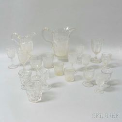 Nineteen Pieces of Colorless Pressed Glass