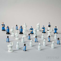 Assorted Herend Painted Porcelain Chess Set Pieces