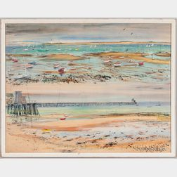 Charles Demetropoulos (American, 1912-1976)      Low Tide, Provincetown  /A Double View