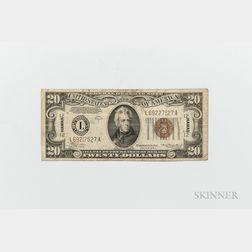 1934-A $20 Emergency Note, Hawaii, Fr. 2305