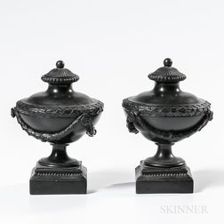 "Pair of Wedgwood & Bentley Black Basalt ""Sugar Dish"" Vases and Covers"