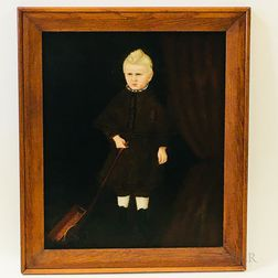 American School, 19th Century    Portrait of a Boy with a Toy Wagon