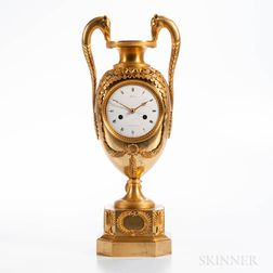Gilt Classical Urn-form Mantel Clock by Michelez