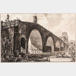Giovanni Battista Piranesi (Italian, 1720-1778)    Vedute del Ponte Molle sul Tevere dumiglia lontan da Roma