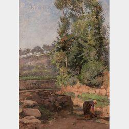 João Marques de Oliveira (Portuguese, 1853-1927)      Paisagem com rio e lavadeira