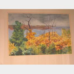 Framed Watercolor  Landscape From the Onawa Cottage