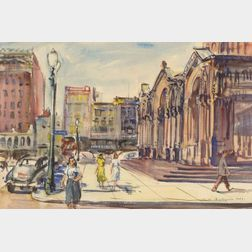 Charles P. Demetropoulos (American, 1912-1976)    City View, St. James Street, Boston