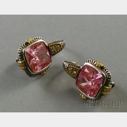 Pair of Judith Ripka 18kt Gold, Sterling Silver, Pink Corundum, and Diamond   Earrings