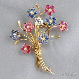 18kt Gold Gem-set Flower Brooch, Van Cleef & Arpels