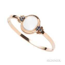 14kt Gold, Moonstone, and Sapphire Bracelet