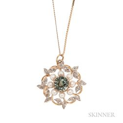 Edwardian Fancy-color Sapphire, Pearl, and Diamond Pendant/Brooch