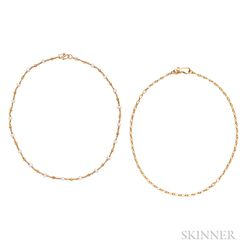 Two High-karat Gold Chains