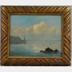 Mauritz Frederik Henrik de Haas (American, 1832-1895)      Coastal View with Distant Lighthouse.